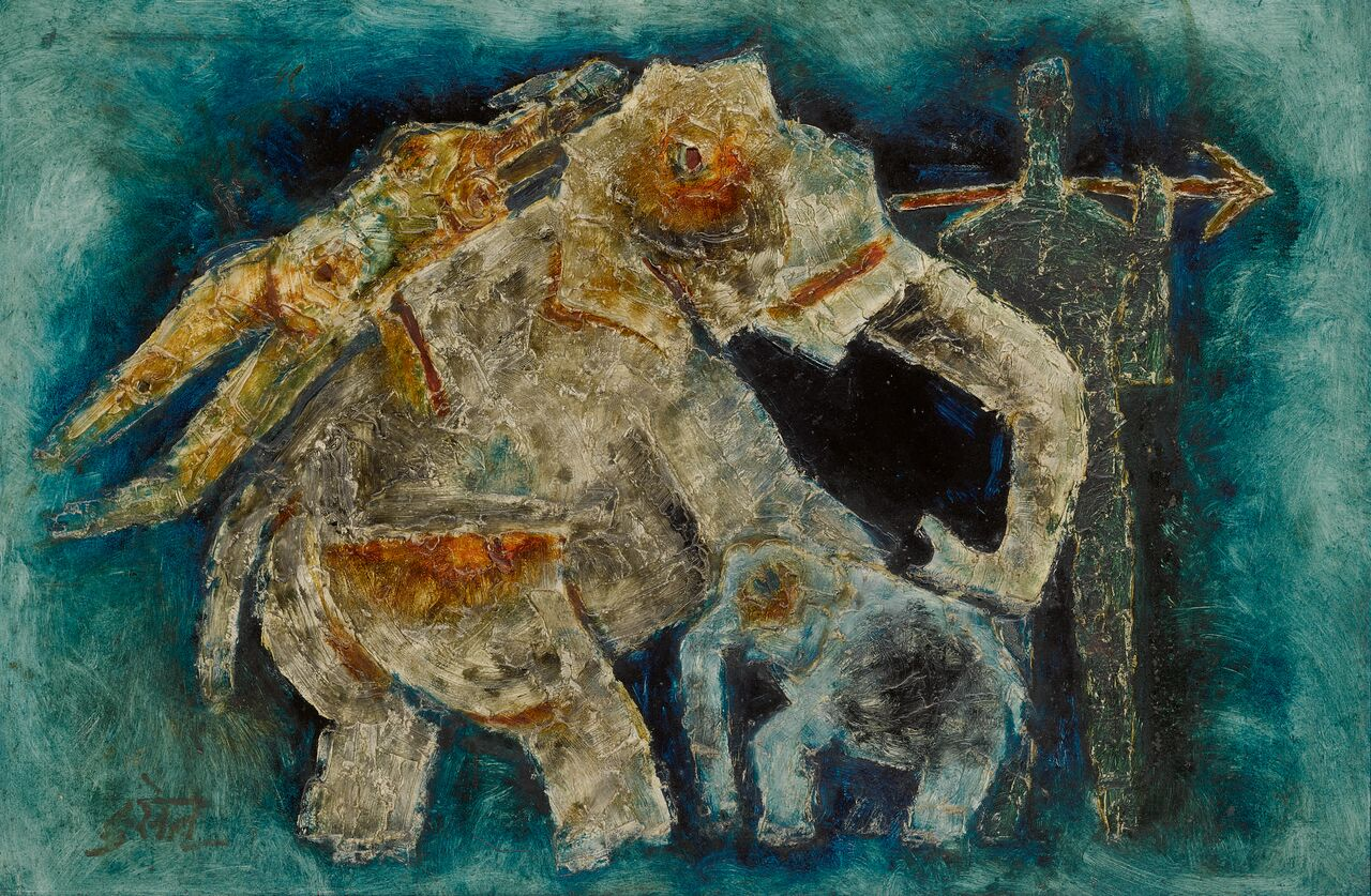 Untitled  (Elephants in Blue), oil on board by Maqbool Fida Husain. Estimate: $120,000-$180,000