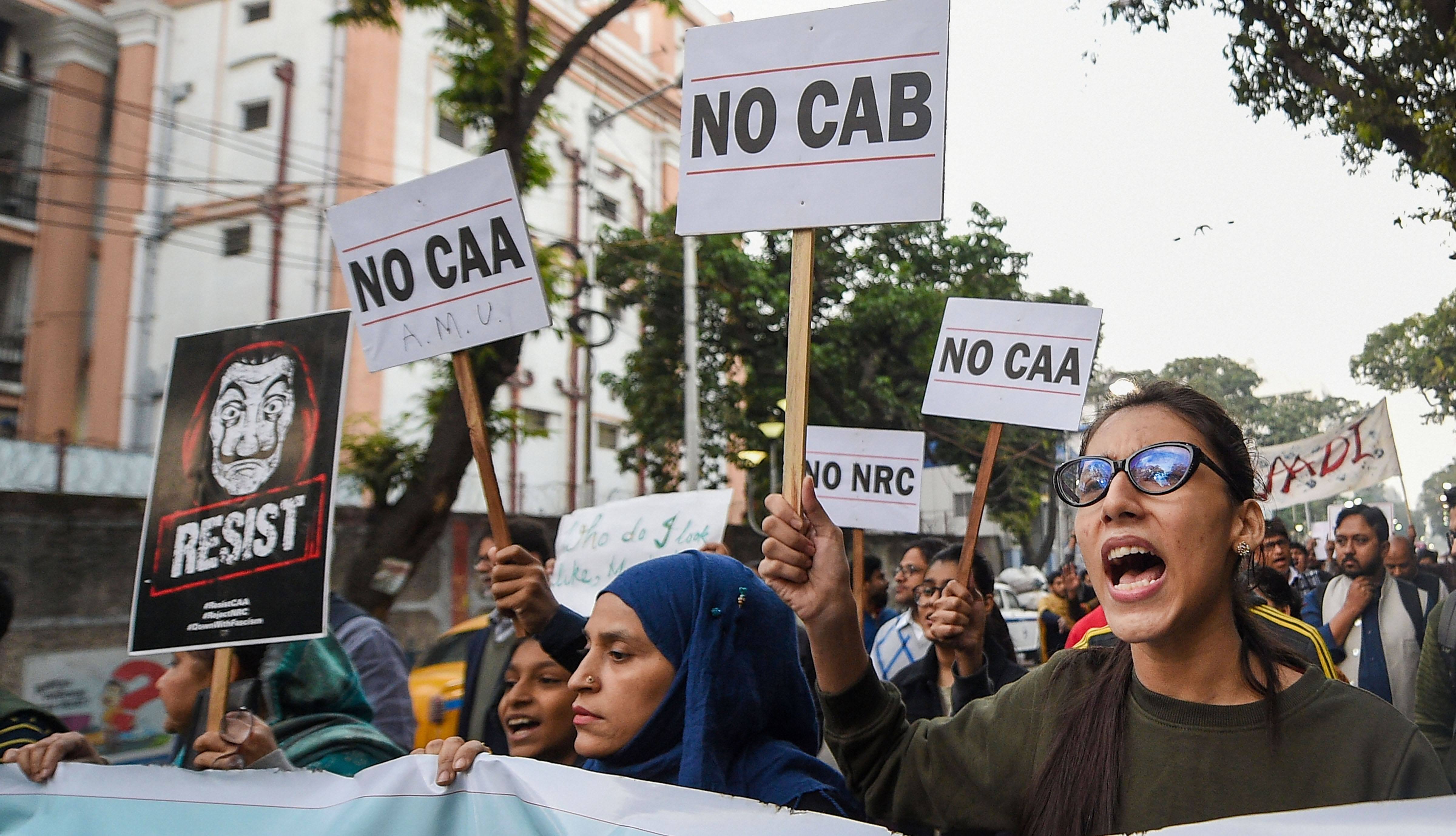 Students take part in a rally protest against CAA, NRC on December 20, 2019.