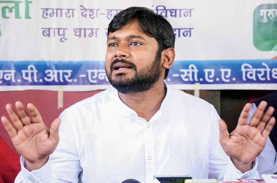 Kanhaiya Kumar in Patna on Saturday.