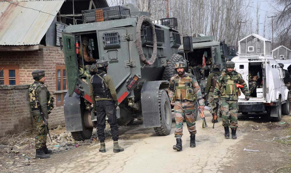 Jawans at the site of the suicide bomb attack at Lethpora area in Pulwama district of south Kashmir on February 15, 2019.
