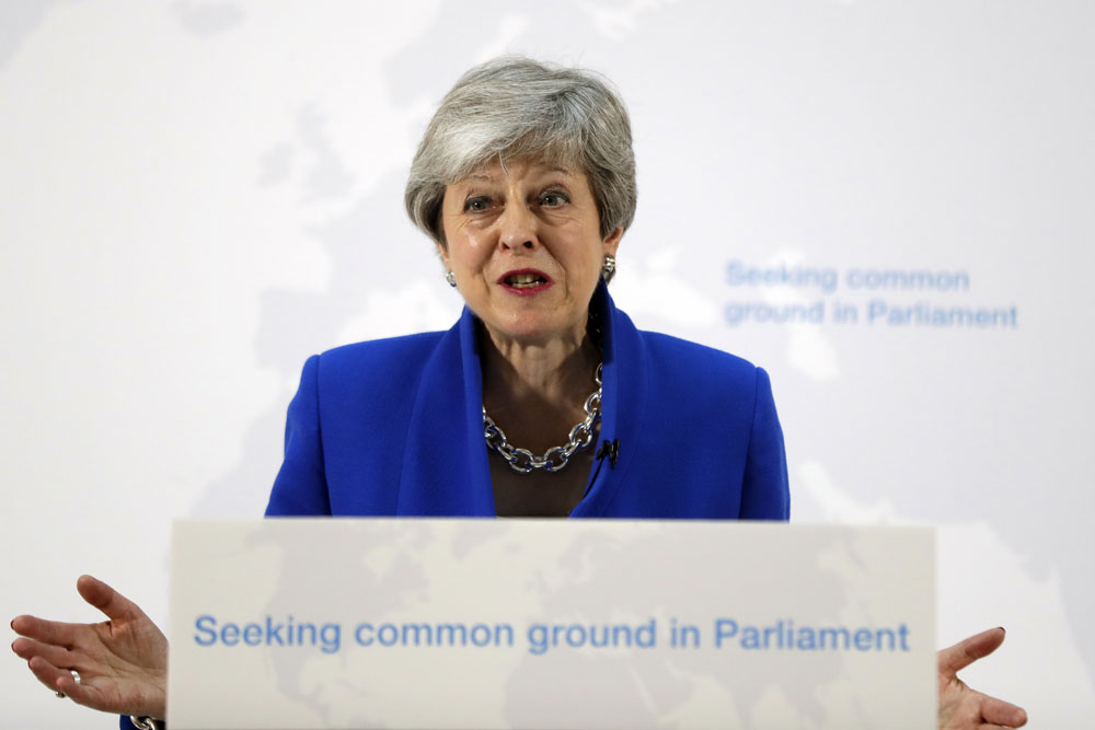 Britain's Prime Minister Theresa May delivers a speech in London, Tuesday, May 21, 2019.