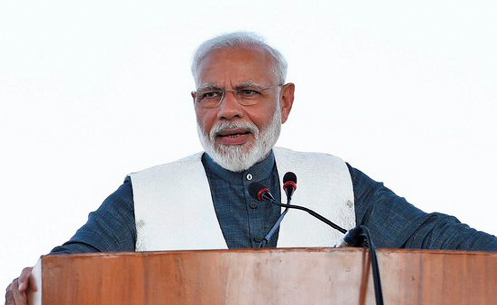 Prime Minister Narendra Modi at Pathankot Air Force Station on Sunday October 27, 2019.