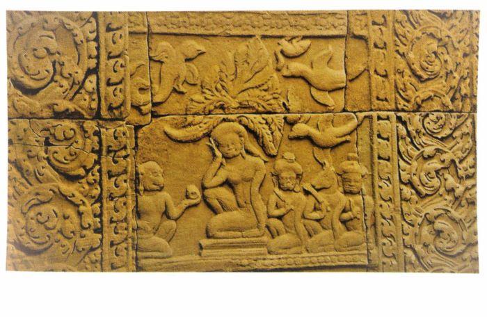 Hanuman and Sita engraved on a Angkor Thom wall in Cambodia