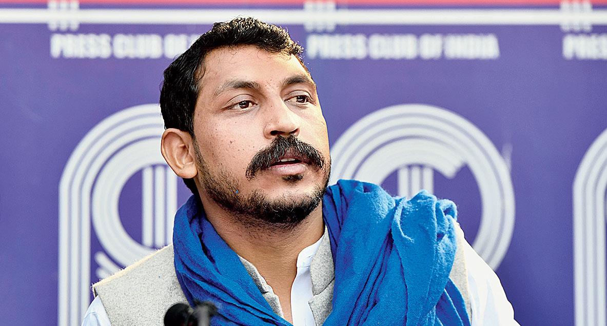 Chandrasekhar Azad at a news conference in New Delhi on Wednesday.