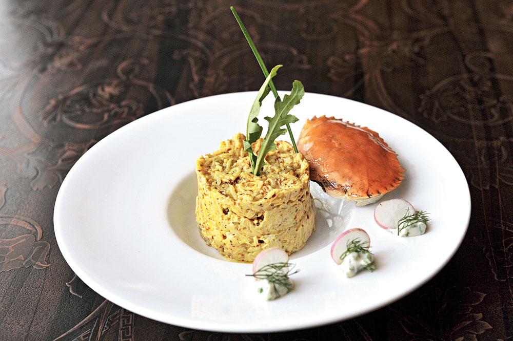 Risotto Di Basanti, Braised Crab Meat, Sholpa Patar Beurre Blanc