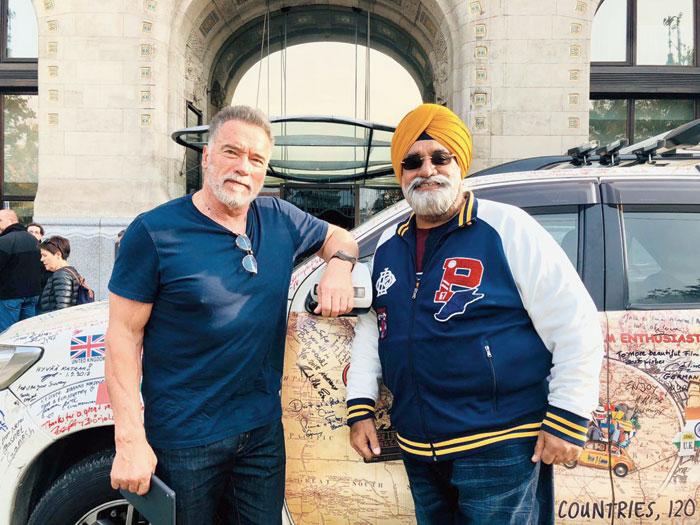Amarjeet Singh Chawla with Arnold Schwarzenegger in Budapest.