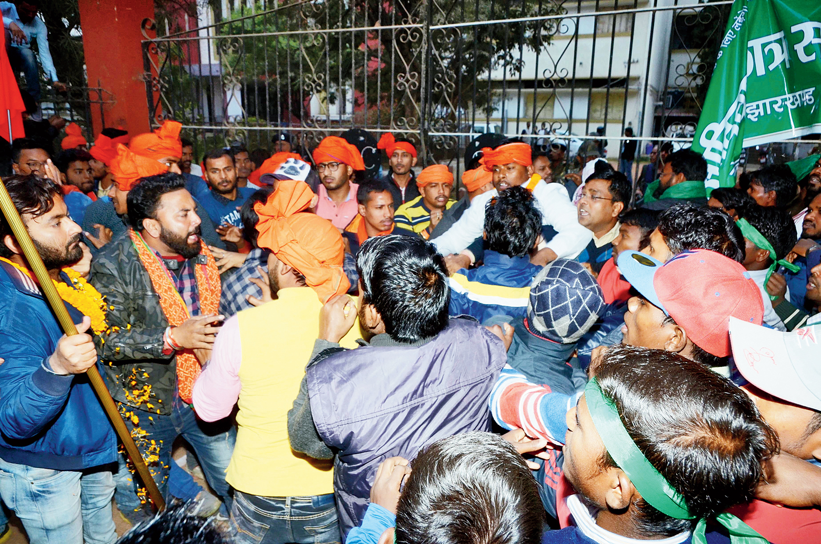 Supporters of ABVP and Adivasi Chhatra Sangh clash outside the counting centre at Dr Shyama Prasad Mukherjee University in Morabadi, Ranchi, on Wednesday
