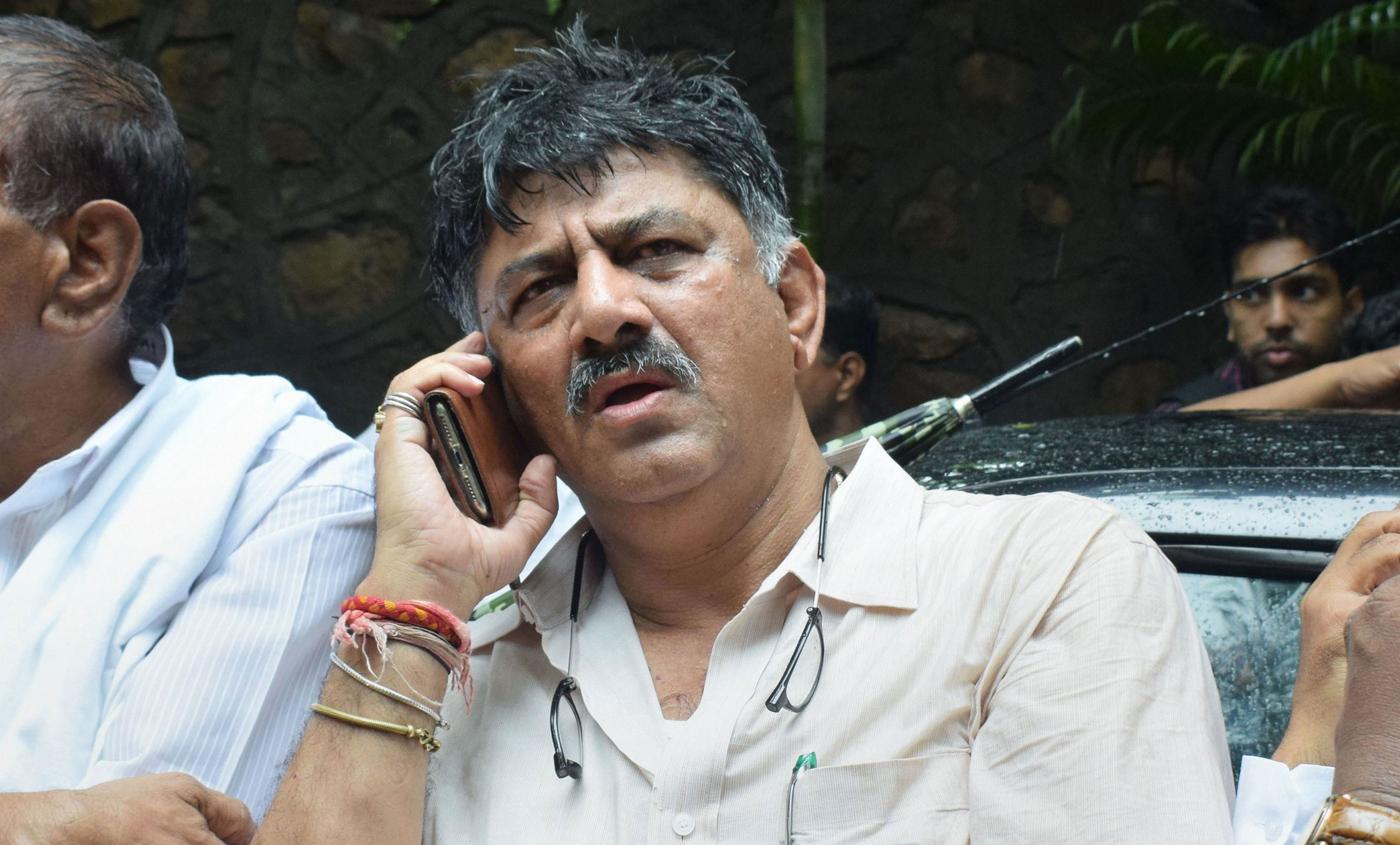 D.K. Shivakumar outside Hotel Renaissance in Powai, Mumbai, on July 10, 2019.