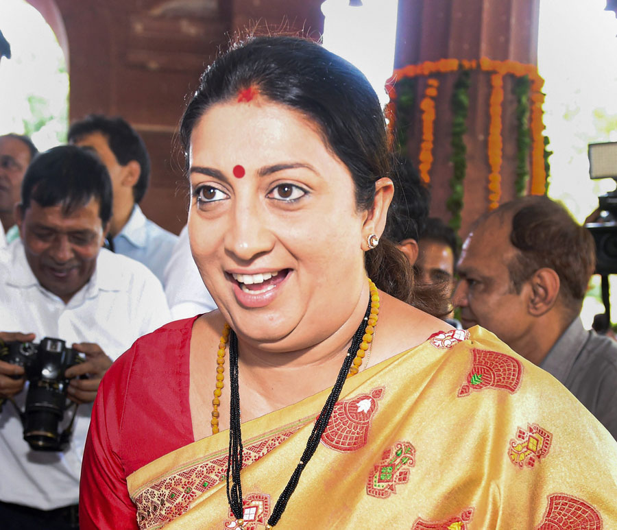 Newly elected MP Smriti Irani arrives at Parliament House in New Delhi on Saturday, May 25, 2019.