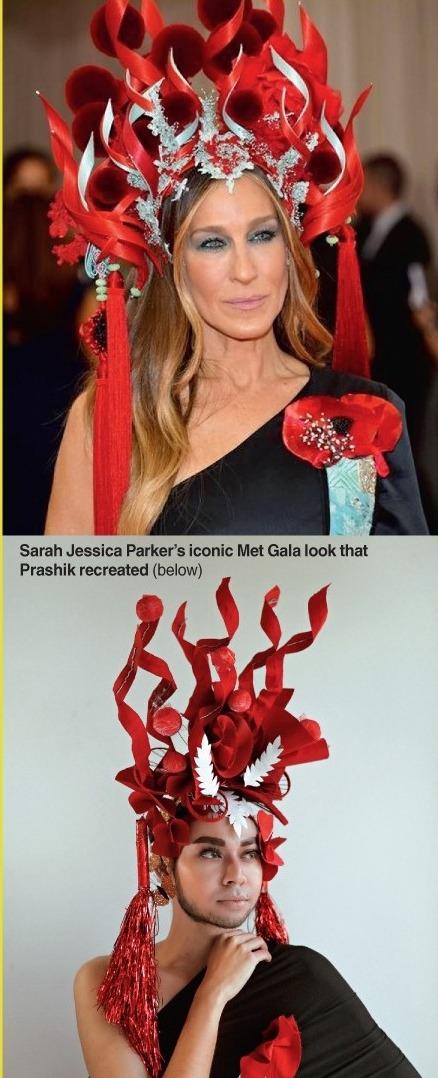 Sarah Jessica Parker's iconic Met Gala look that Prashik recreated (below)