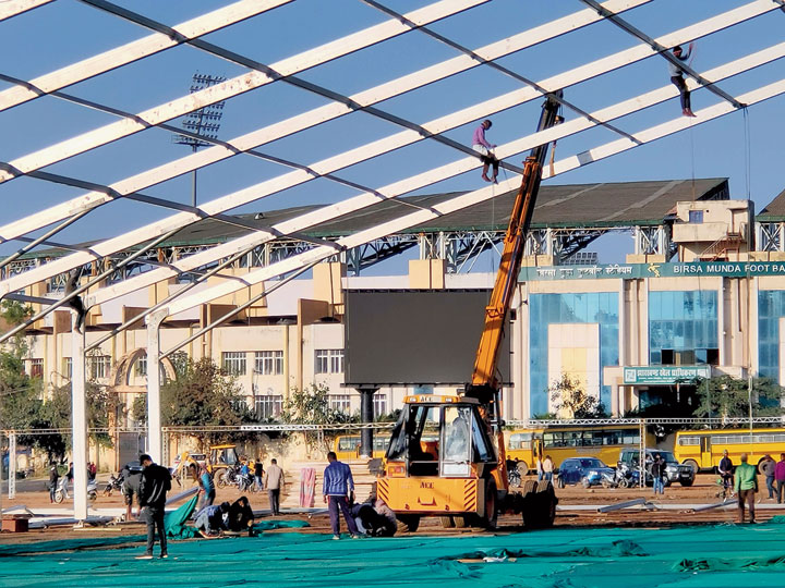 Workers put up a hangar at Morabadi ground in Ranchi on Friday
