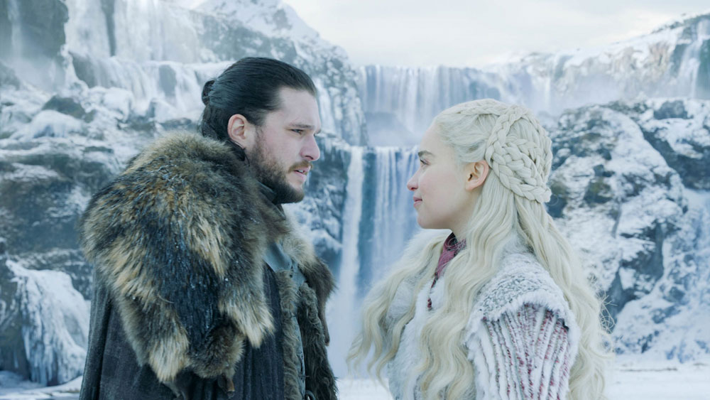 Emilia Clarke and Kit Harington in a scene from Game of Thrones