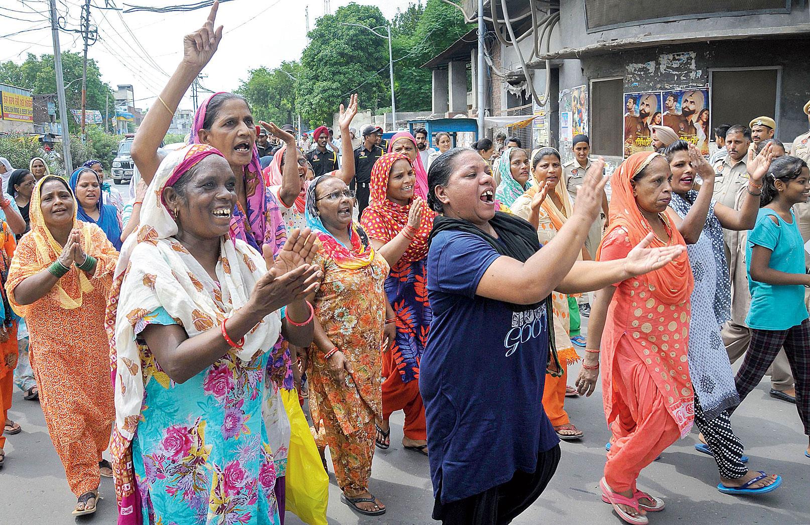 Guru Ravidass Sabha members during a protest in Amritsar on Tuesday.