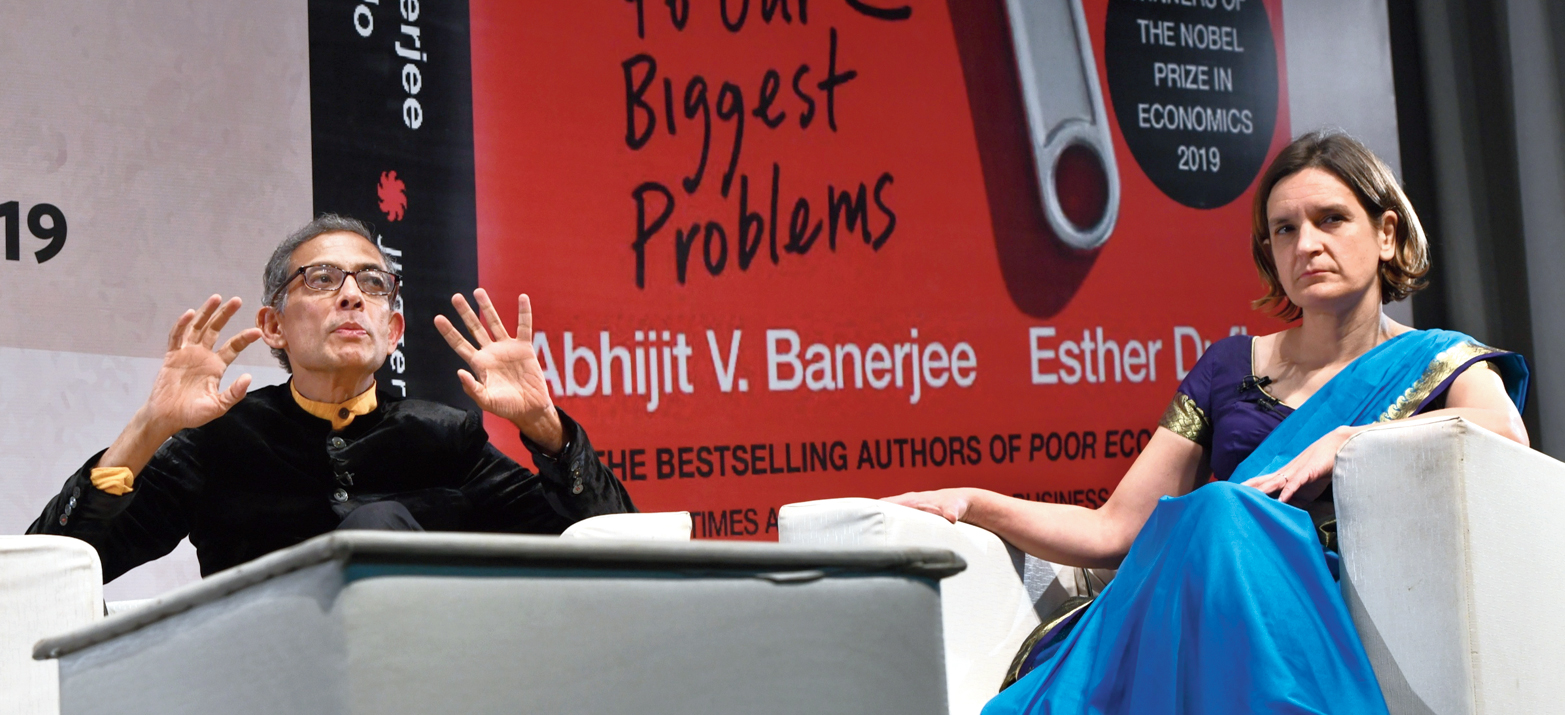 Nobel laureates Abhijit Vinayak Banerjee and Esther Duflo during the launch of their book, Good Economics for Hard Times, in New Delhi on Friday.