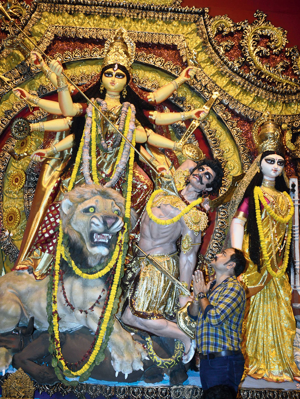 Pradip Rudrapal in front of the BJ Block goddess
