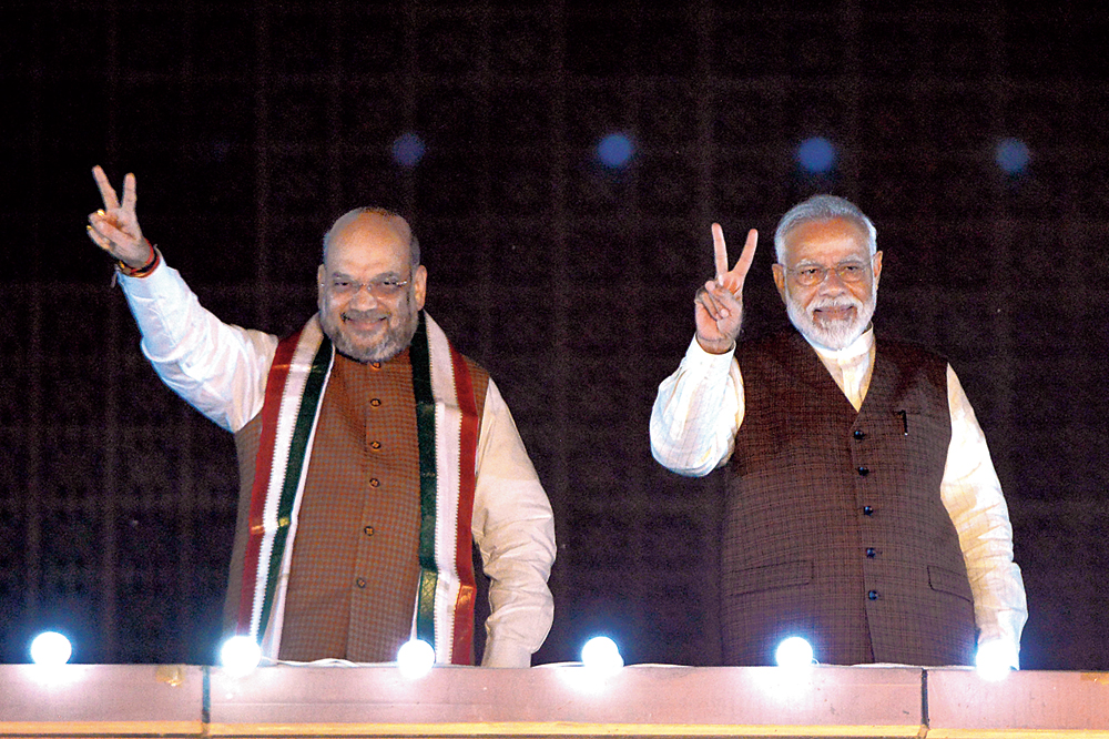 Amit Shah with Narendra Modi at the BJP headquarters in New Delhi on October 24, 2019.