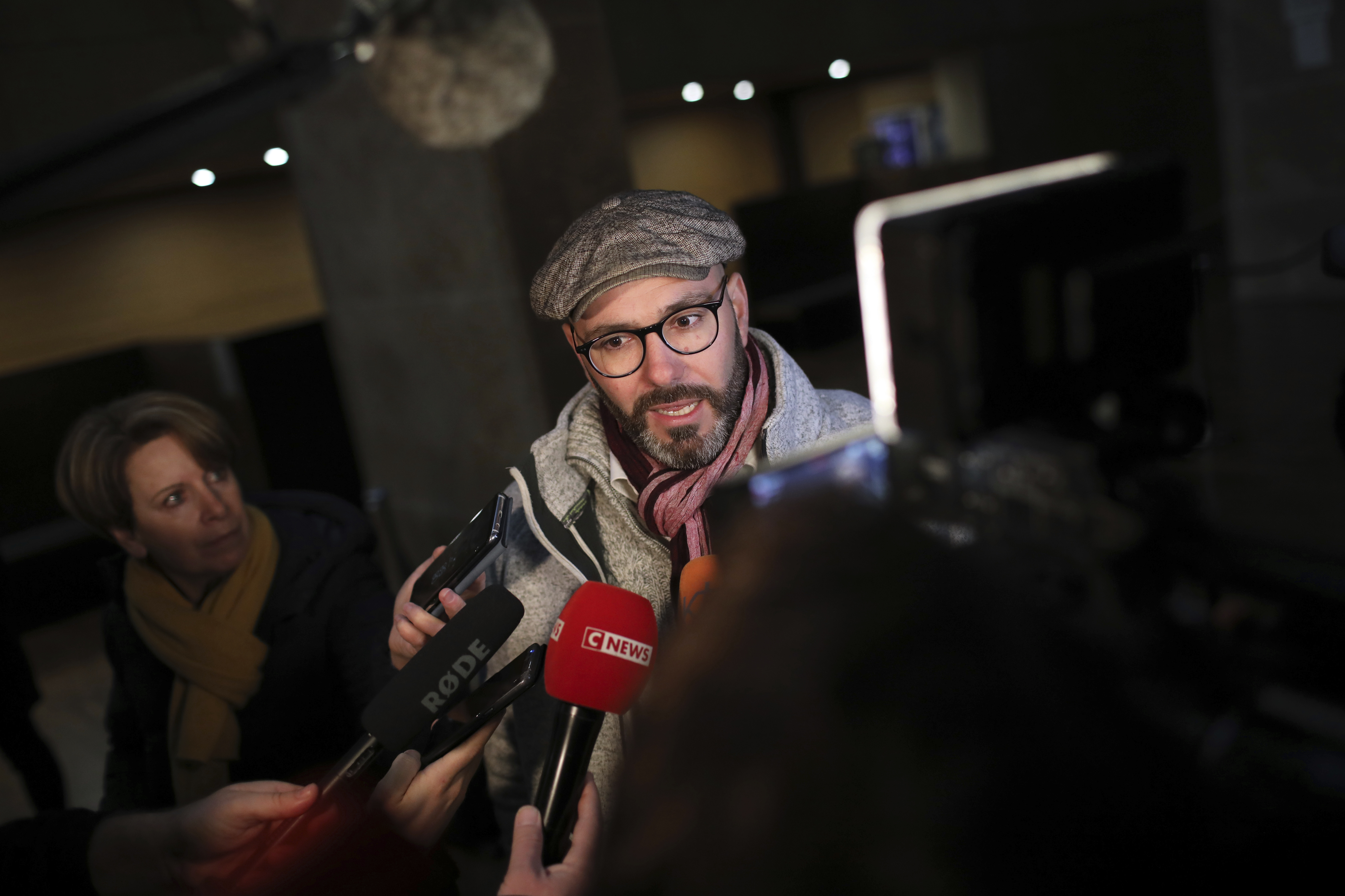 Francois Devaux, one of the plaintiffs and president of the La Parole Libérée (the Liberated Word) victims' group and self-declared victim of Father Preynat talks to the media as he arrives to attend the trial of Cardinal Philippe Barbarin at the Lyon on January 7, 2019.