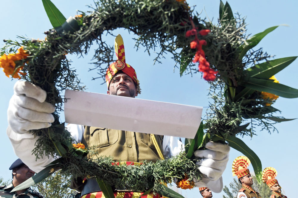 A wreath laying ceremony in Srinagar.