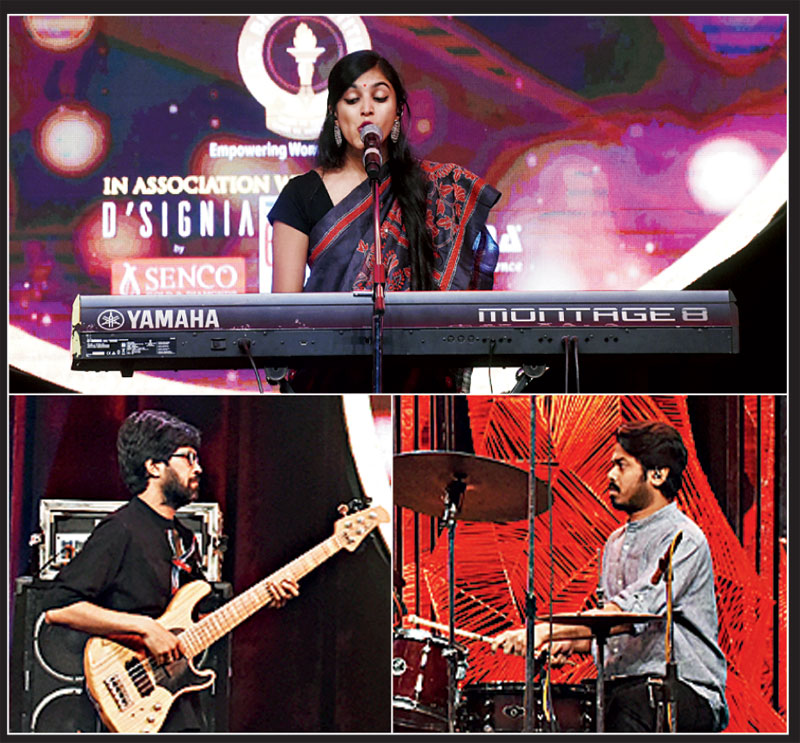 """Aditi Ramesh, a jazz/blues Carnatic vocalist, songwriter, bandleader and producer from Mumbai, performed at The Telegraph She Awards 2020. She was accompanied by drummer Sambit Chatterjee and bassist Bijit Bhattacharya. """"We had a great experience performing at the She Awards. It was inspiring to play for so many luminaries and women I look up to, in the audience,"""" said Aditi whose music is influenced by soul, jazz, blues, Carnatic, funk and folk music."""