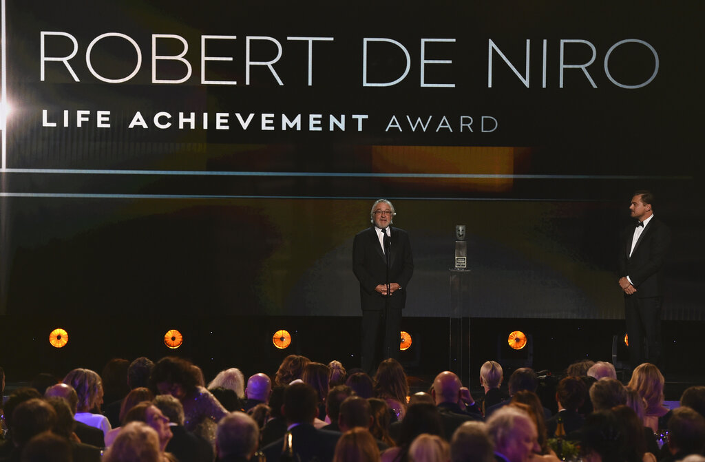 Robert De Niro accepts the lifetime achievement award at the 26th annual Screen Actors Guild Awards at the Shrine Auditorium & Expo Hall on Sunday, January 19, 2020, in Los Angeles