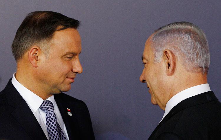Polish President Andrzej Duda, left, and Israeli Prime Minister Benjamin Netanyahu