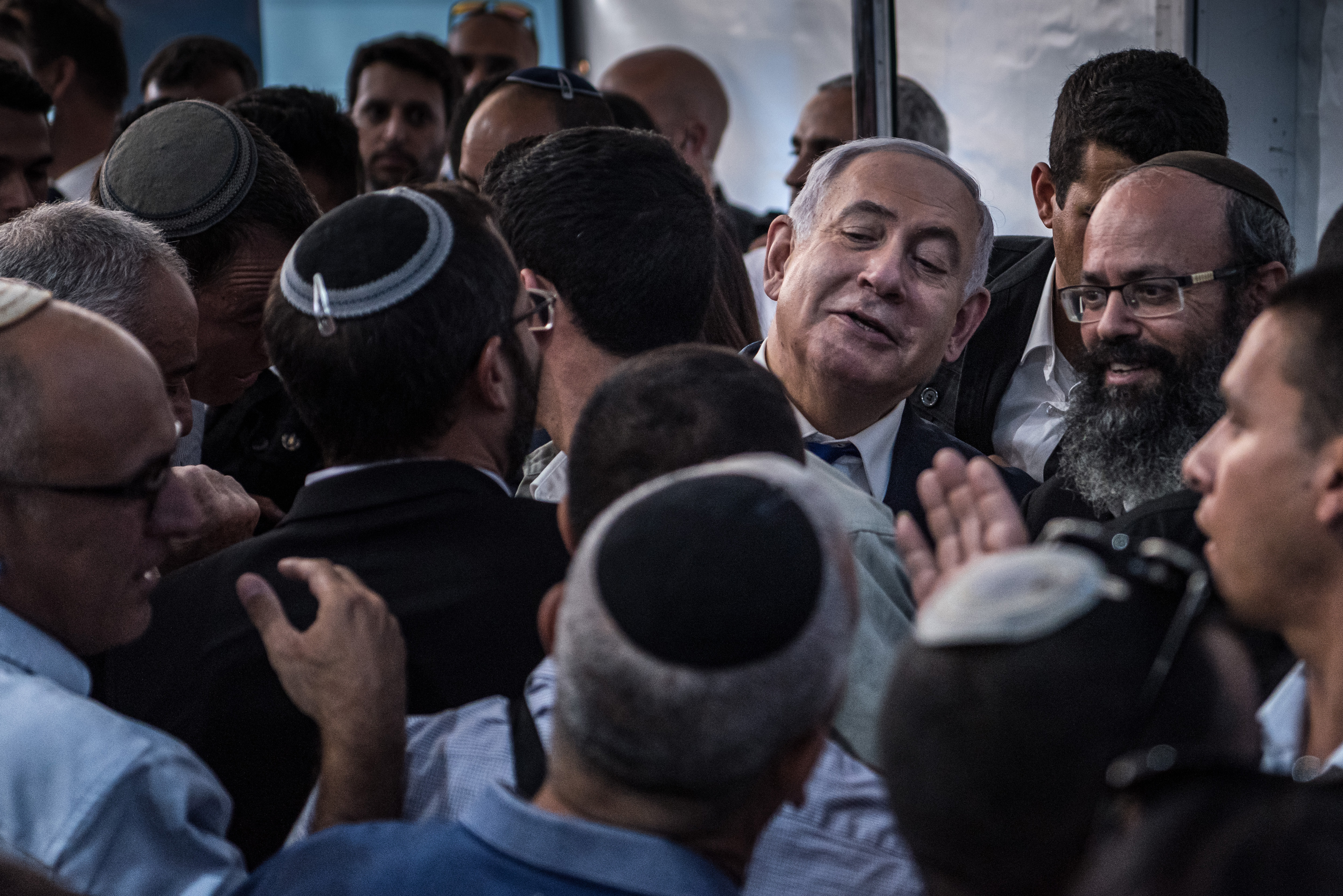 Israel Prime Minister Benjamin Netanyahu meets with members of the Jewish settlement in the West Bank city of Hebron, Wednesday, September 4, 2019