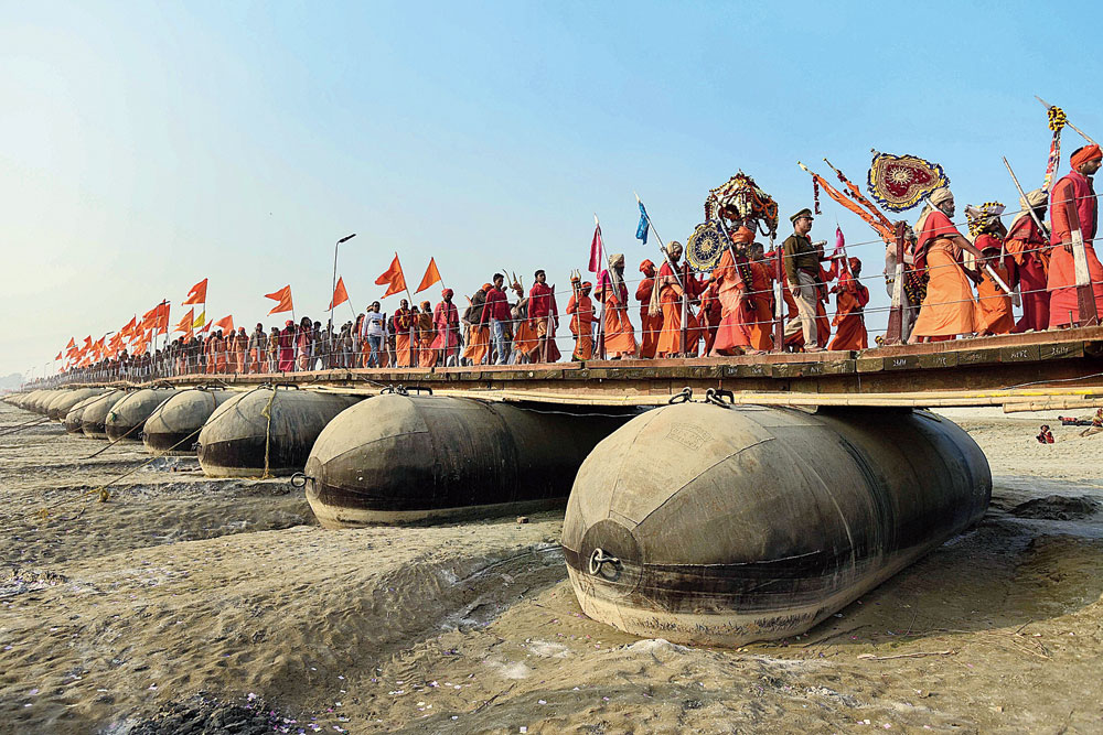 Sadhus of Shri Panchayati Taponidhi Niranjani Akhada during the Peshwai procession for the Ardh Kumbh Mela in Allahabad on Wednesday.