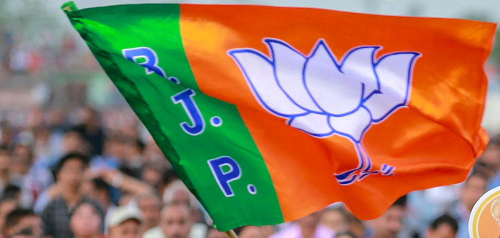 A BJP flag at a rally by Prime Minister Narendra Modi in Jammu on Thursday
