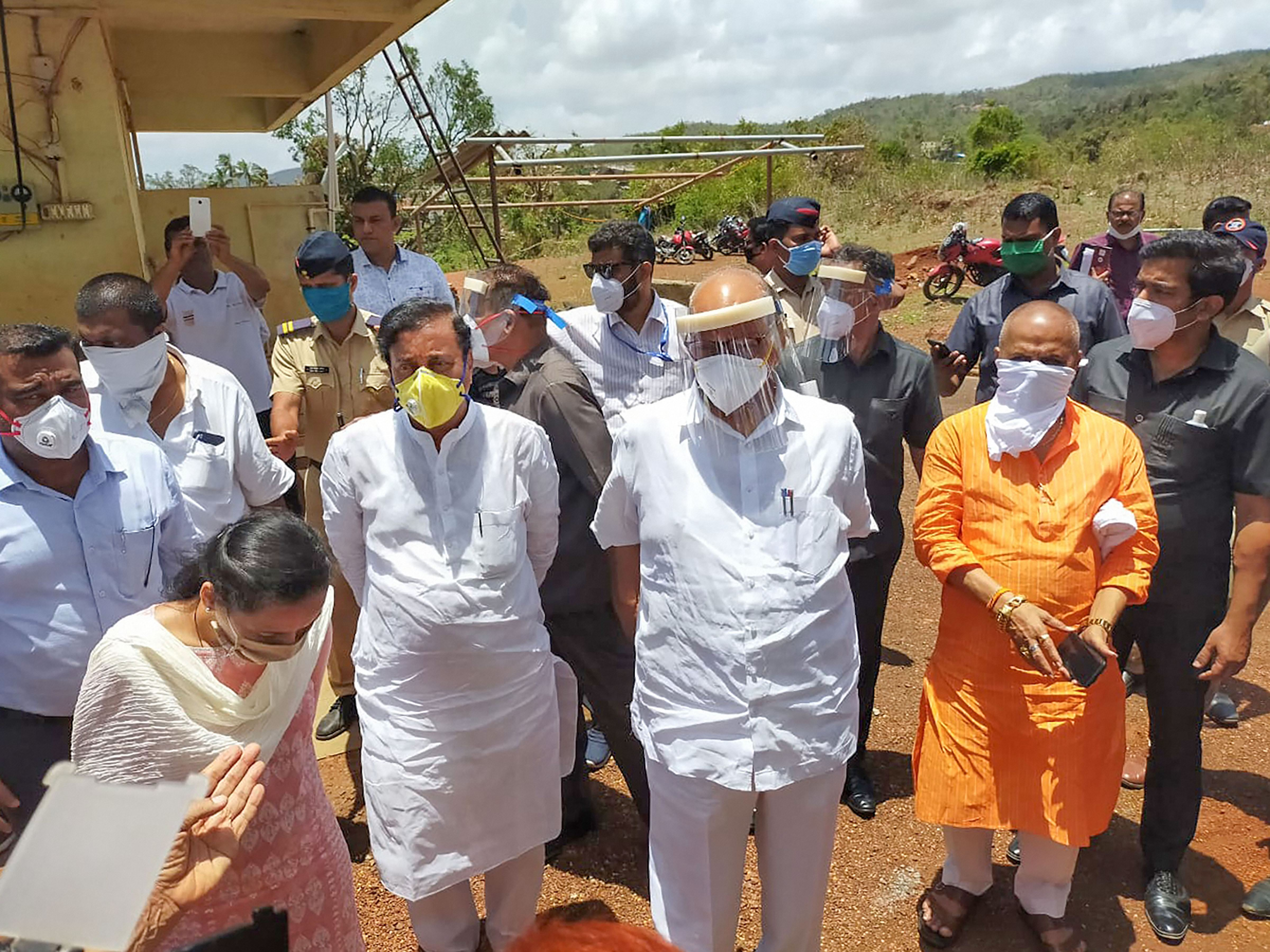 NCP chief Sharad Pawar takes stock of the damage caused by cyclone 'Nisarga, at Mhasla in Raigad district of Maharashtra, Tuesday, June 9, 2020