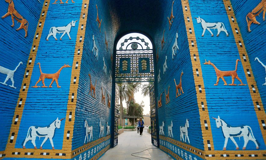The Ishtar Gate in the ancient city of Babylon near Hilla, Iraq, on July 5, 2019.