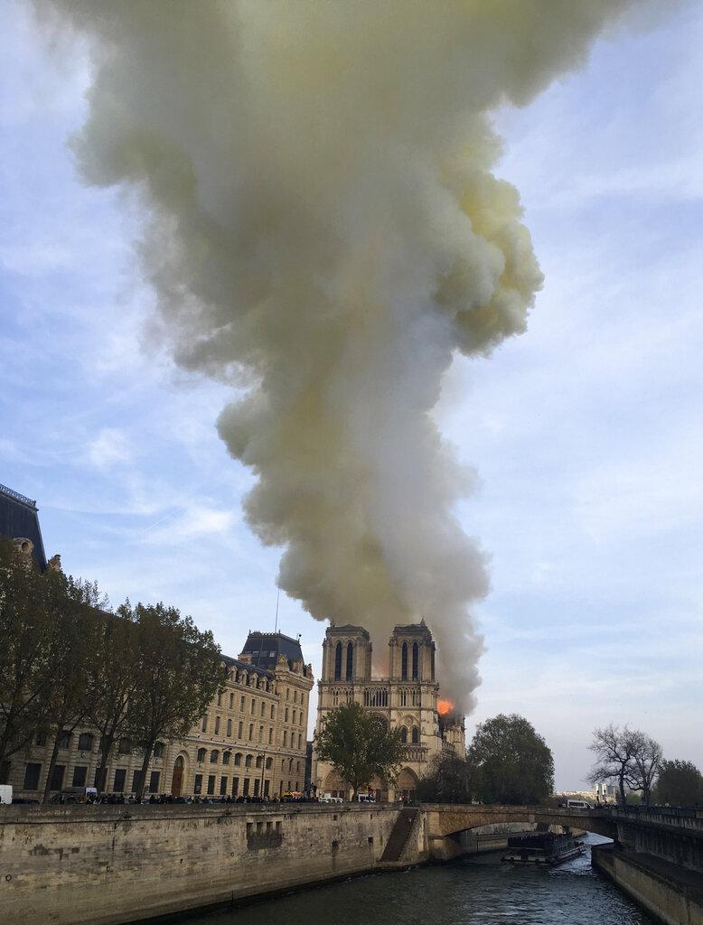 Notre Dame cathedral burns on April 15.