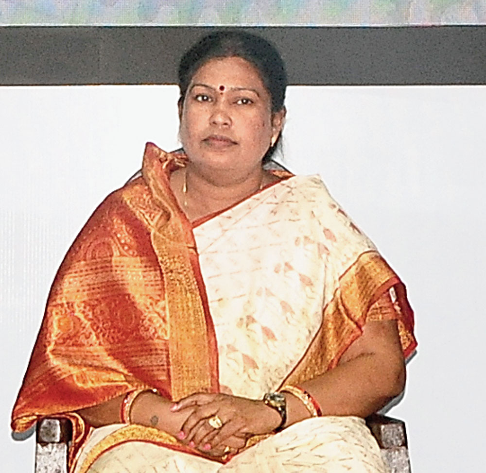 Textiles and handicrafts minister Snehangini Chhuria at a session at the conclave in Bhubaneswar on Tuesday.