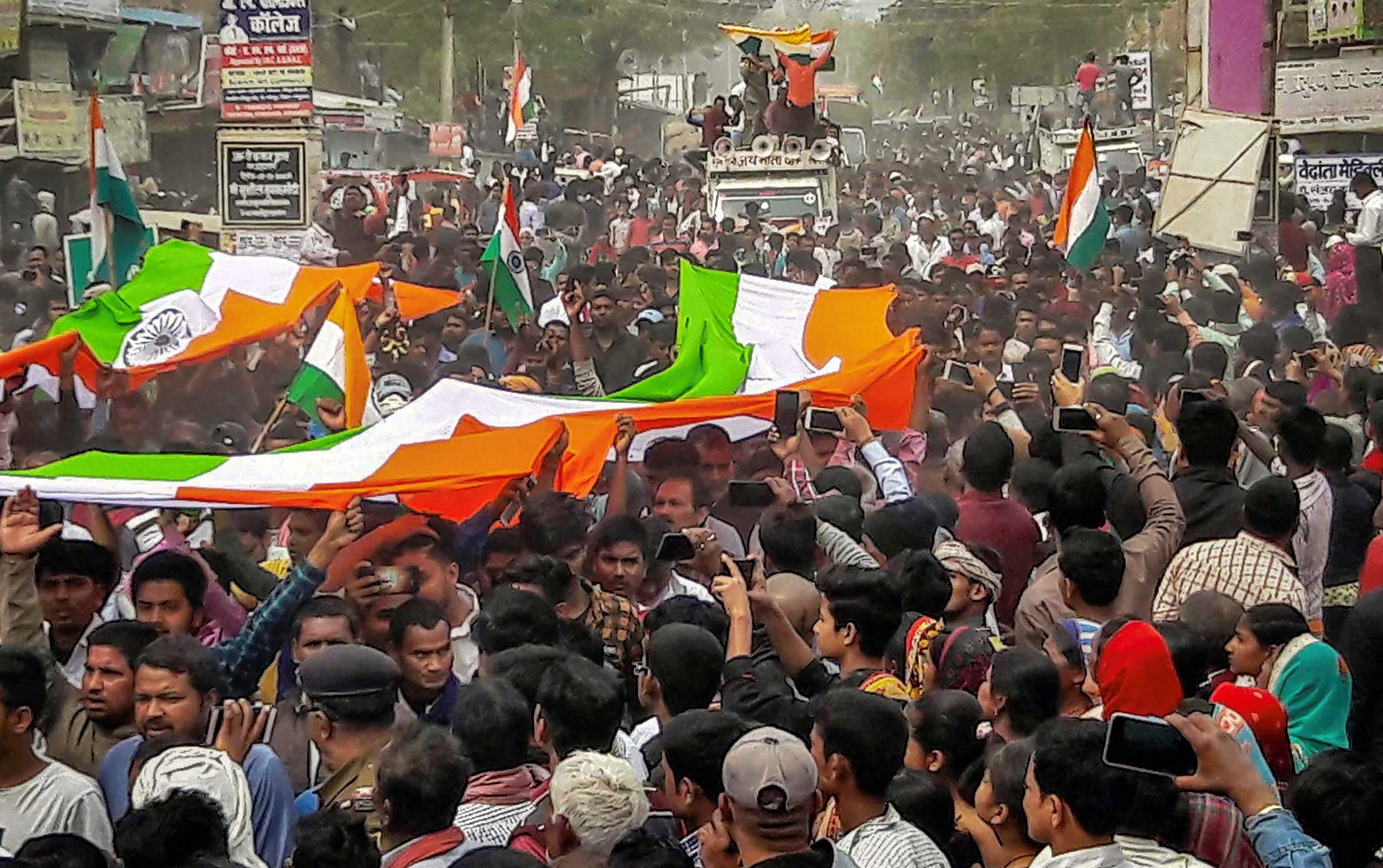 People attend the funeral procession of CRPF inspector Pintu Kumar Singh, in Patna, on Sunday.