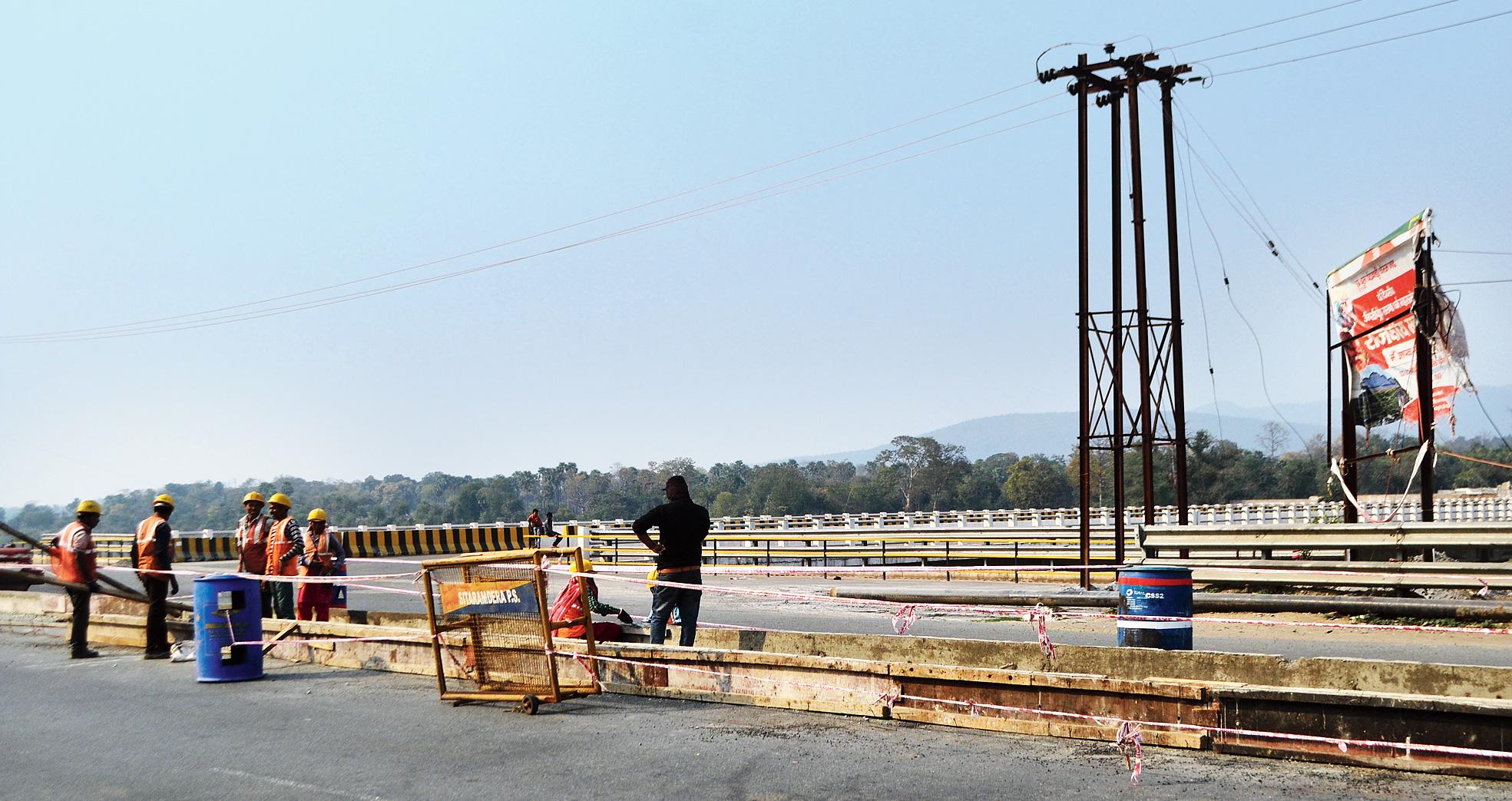 Divider construction in progress along Marine Drive in Sonari, Jamshedpur, on Friday.