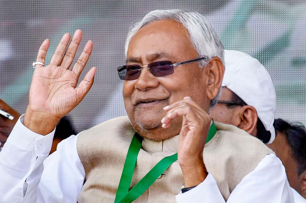 Bihar chief minister Nitish Kumar in Patna on Sunday