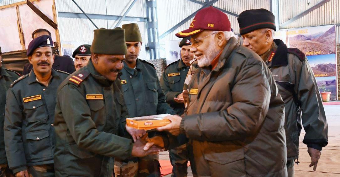 Modi greets troops in Harsil