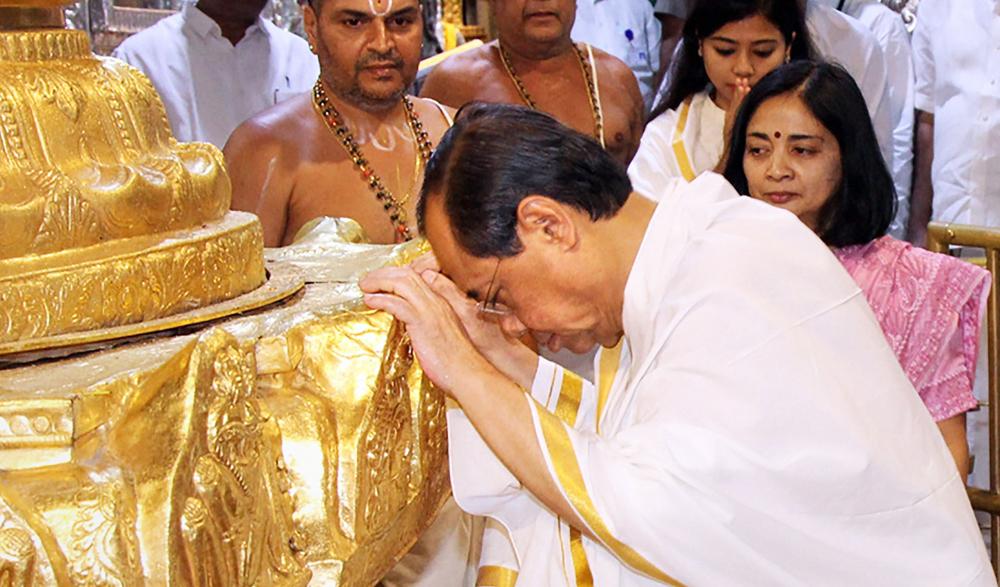 Justice Ranjan Gogoi offers prayers at the hill temple of Lord Venkateswara at Tirumala in Tirupati on Friday, April 19, 2019.