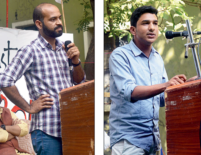 Abhisekh Nanda of the Central University of Hyderabad and (right) Istiaq Ahmed, a law student at Aligarh Muslim University, speak at the convention on Friday