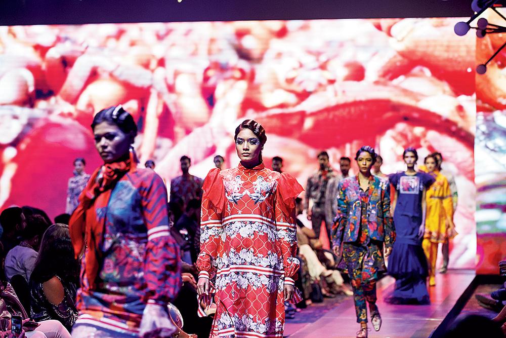 Models walk the ramp at the Radisson Blu Dhaka Water Garden