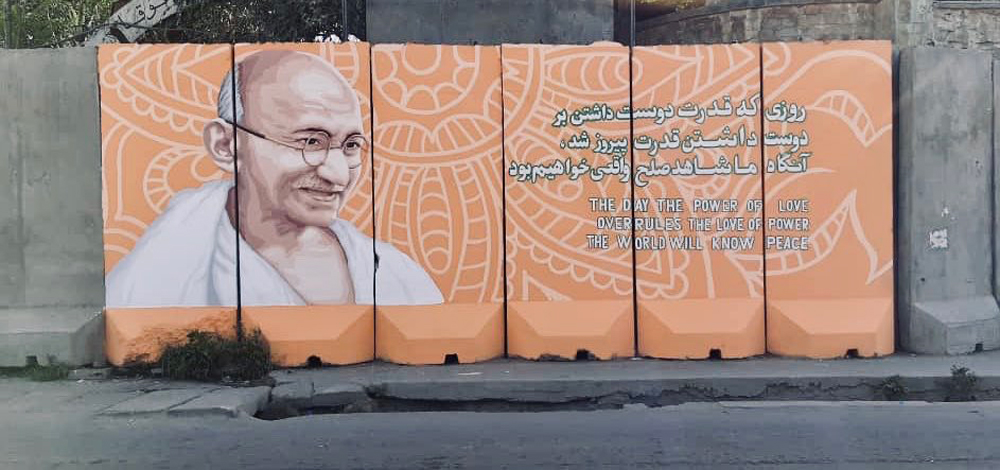 Gandhi's message of peace on a mural in Kabul