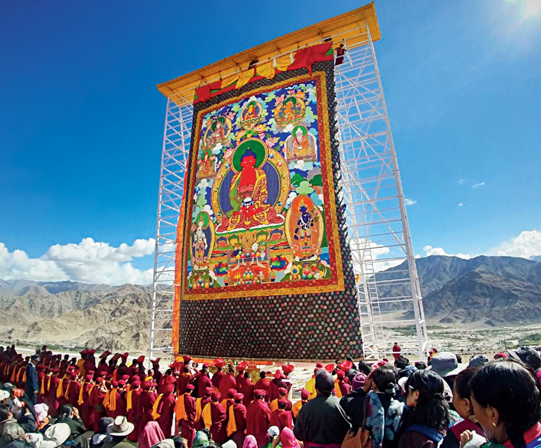 A surreal moment during the festival was the unfurling of the silk-embroidered brocade of Buddha, called the Thangka (it's the largest in Ladakh) amidst chanting by the monks