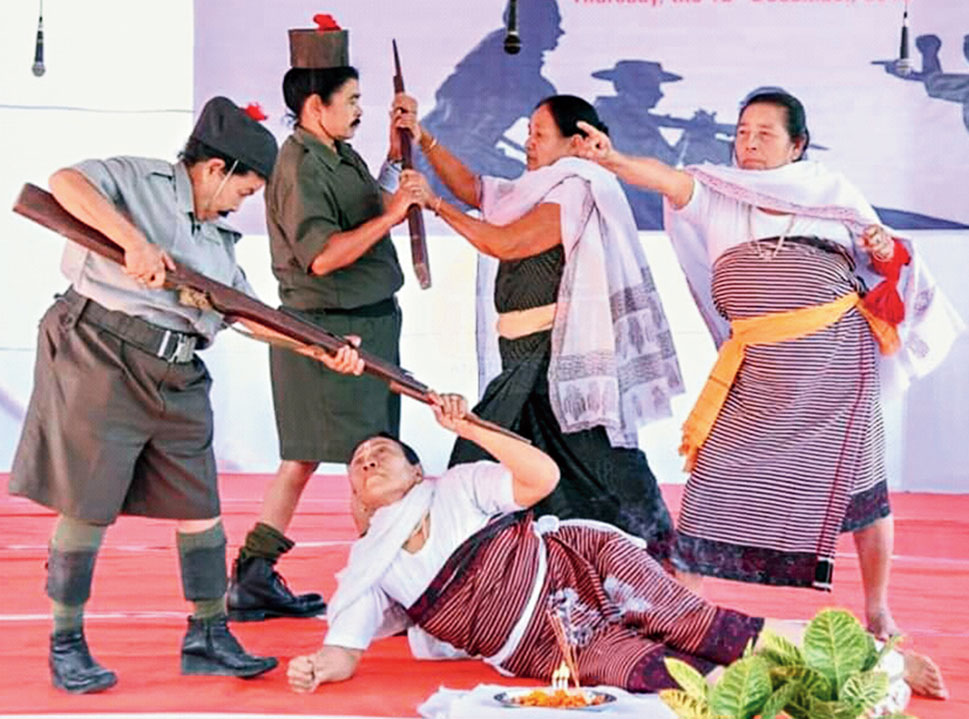 Artistes enact a play on Nupi Lan in Imphal on Thursday