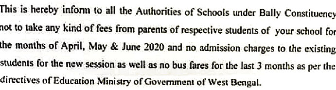 A portion of the notice she has sent to private schools in her constituency