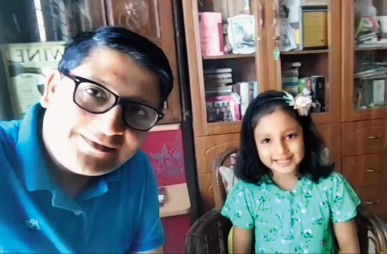 Father-daughter duo Abhra and Brishti Roy in the Greenfield Ambition video