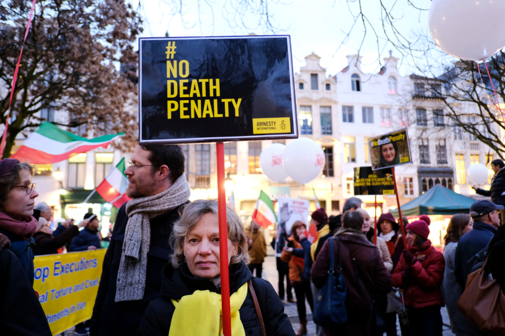Activists march against executions, Brussels, Belgium. March 2019.