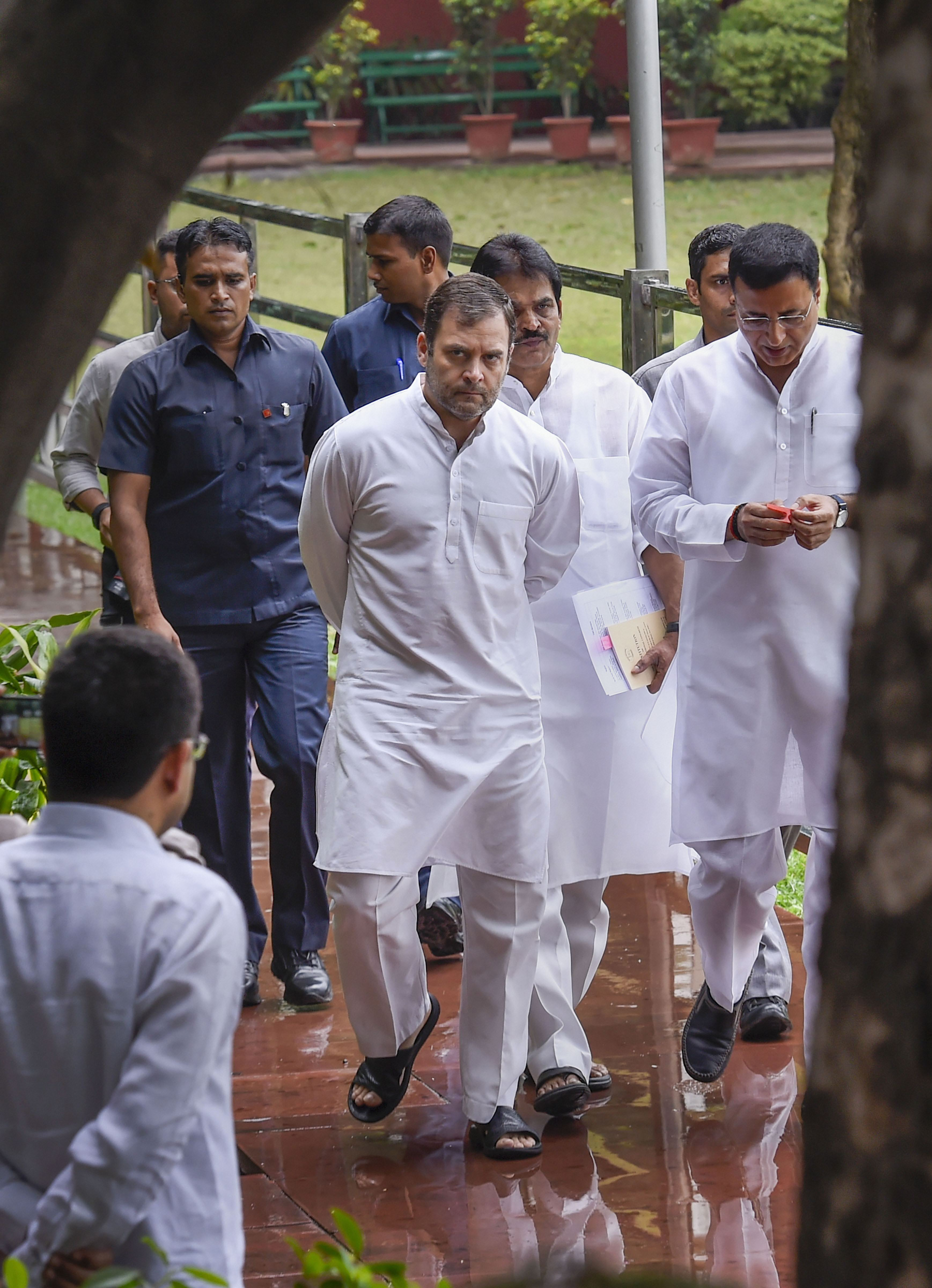 Rahul Gandhi arrives for the Congress Working Committee meeting in New Delhi on August 10.
