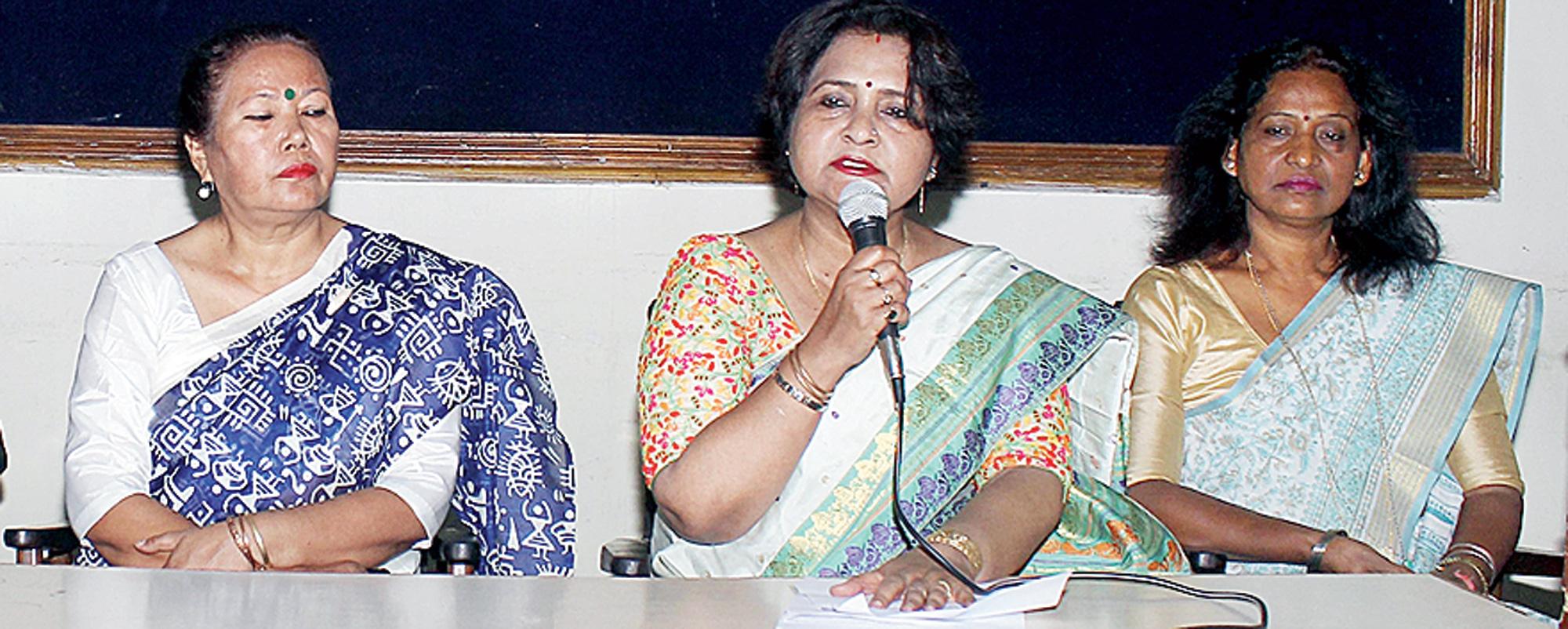 GOLD assistant general secretary Kaberi Sharma speaks at the news meet on Saturday.