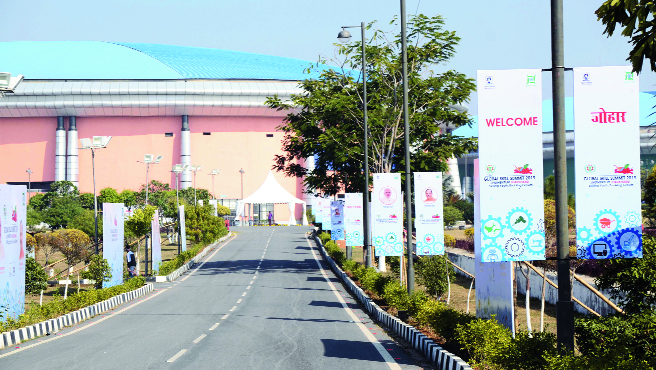 Hoardings erected at the mega sports complex at Hotwar on Wednesday for the Global Skill Summit in Ranchi.