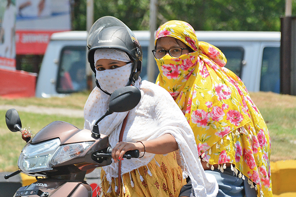 Women with their faces covered to beat the heat in Jamshedpur on Tuesday