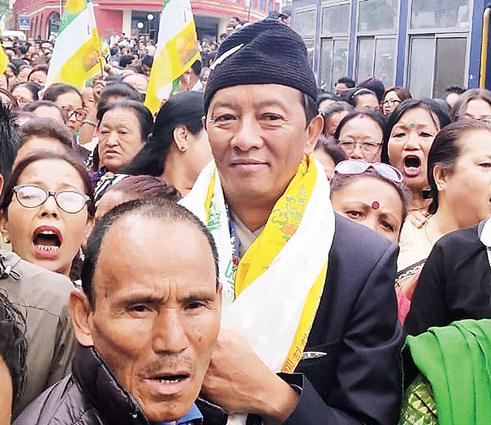 Binay Tamang on way to file his nomination in Darjeeling on Friday